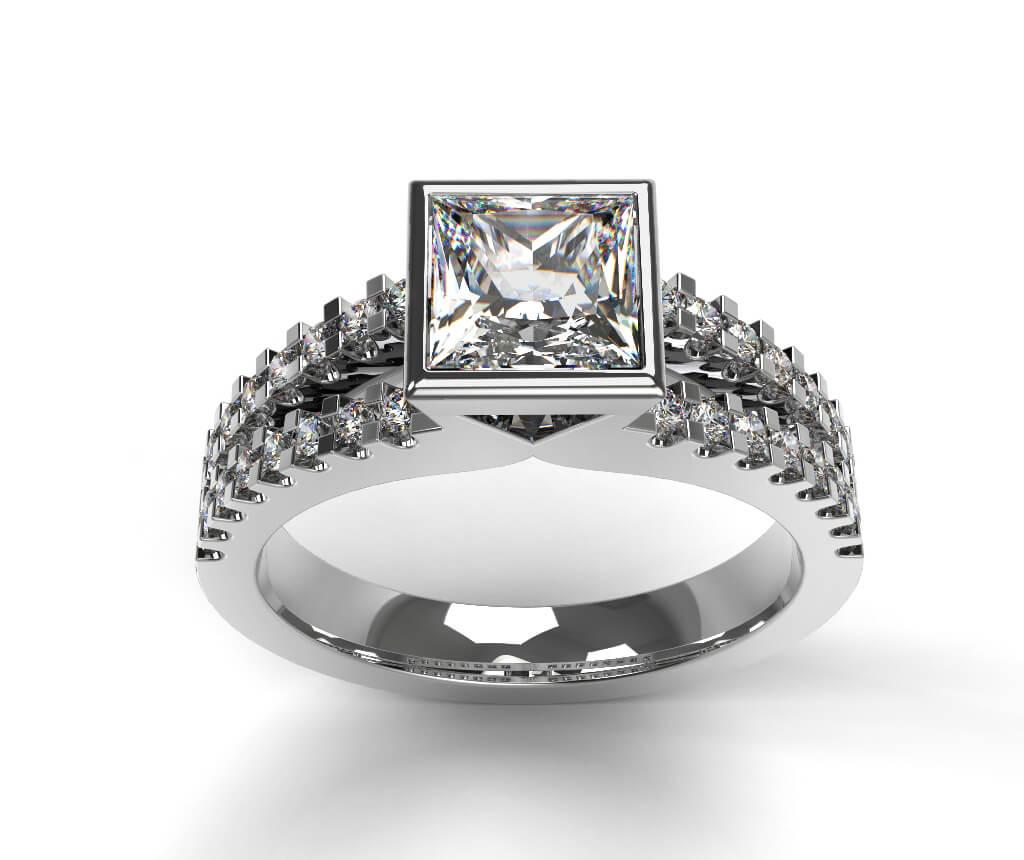 Princess Cut Solitaire Diamond Engagement Ring, Bezel Set on a Diamond Set Split Band.