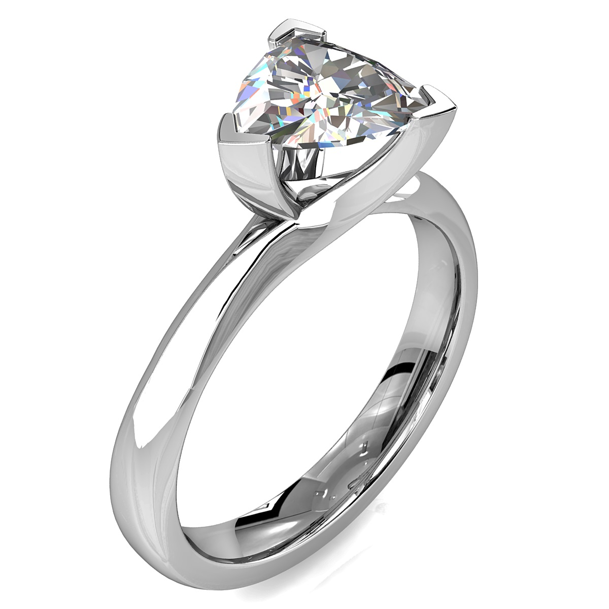 Trilliant Cut Solitaire Diamond Engagement Ring, 3 Corner Claws on a Sweeping Band.