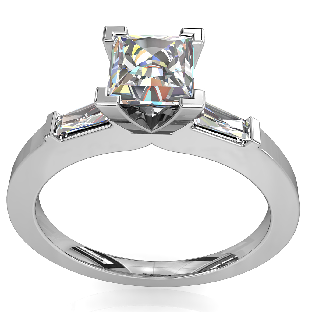 Princess Cut Solitaire Diamond Engagement Ring, 4 Corner Claws and Tapered Baguette Side Stones.