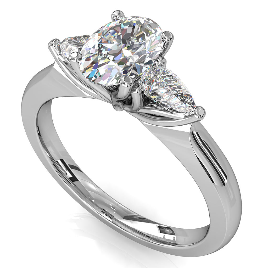 Oval Cut Trilogy Diamond Engagement Ring, with Pear Shape Side Stones and Lotus Setting Detail.