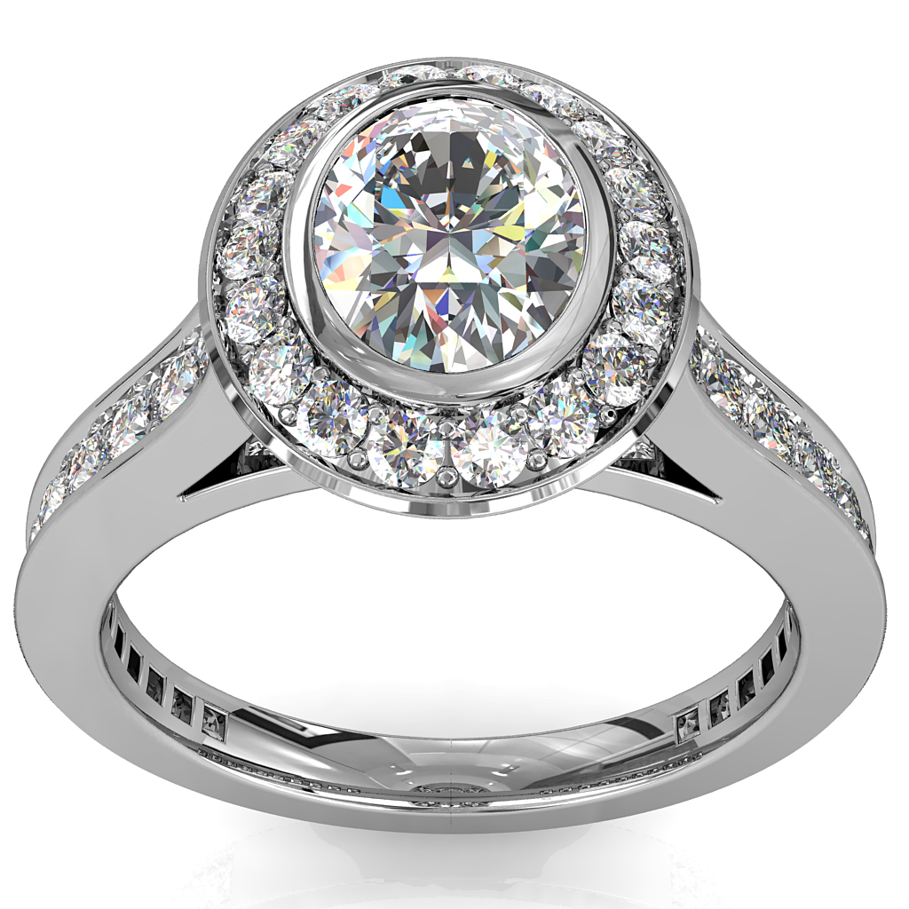 Oval Cut Diamond Engagement Ring, Bezel Set into a Bead Set Halo and Band, with Hidden Diamond Undersetting.