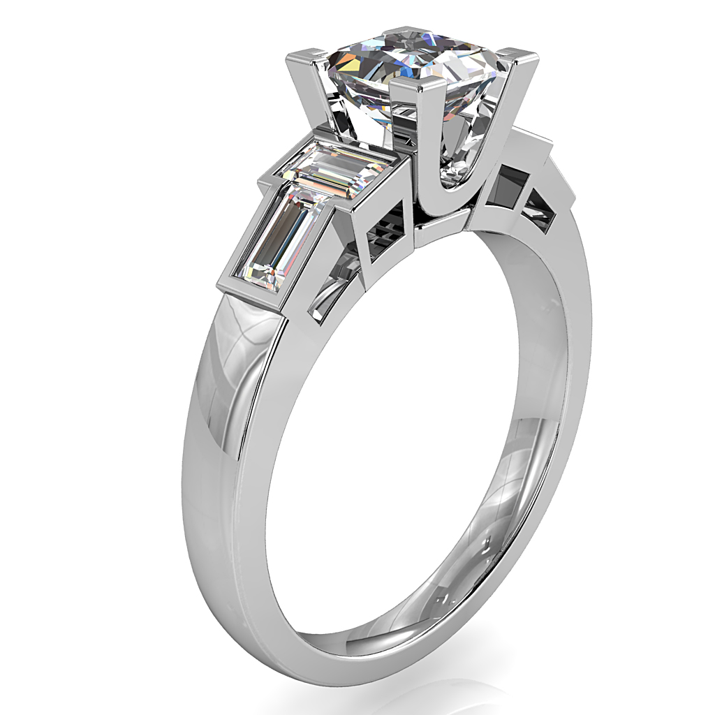Princess Cut Trilogy Diamond Engagement Ring, with Baguette Side Stones.
