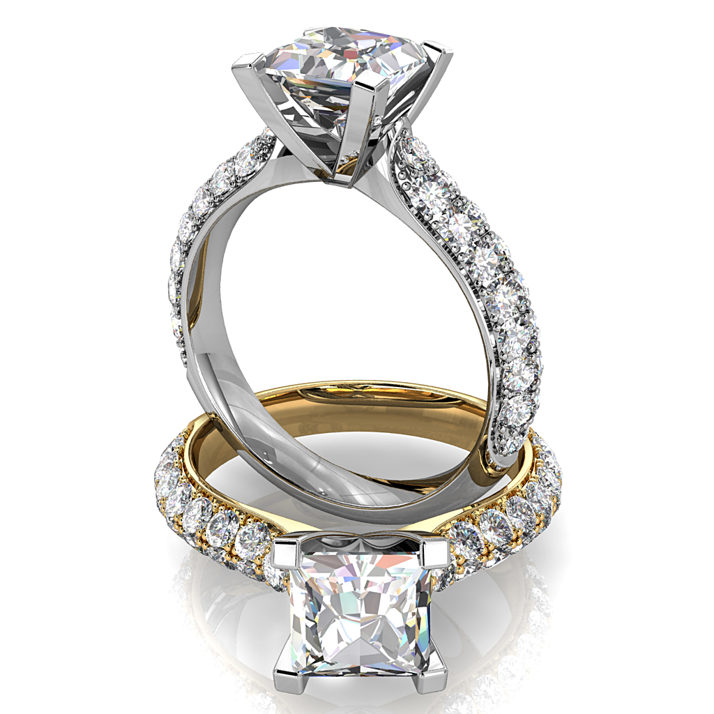 Princess Cut Solitaire Diamond Engagement Ring, 4 Square Claws with a Pave Set Band.