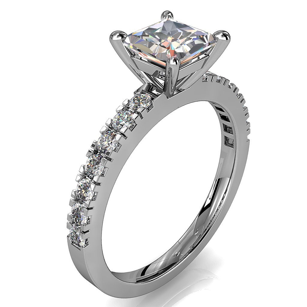 Princess Cut Solitaire Diamond Engagement Ring, 4 Pear Shape Claws on a Cut Claw Band.