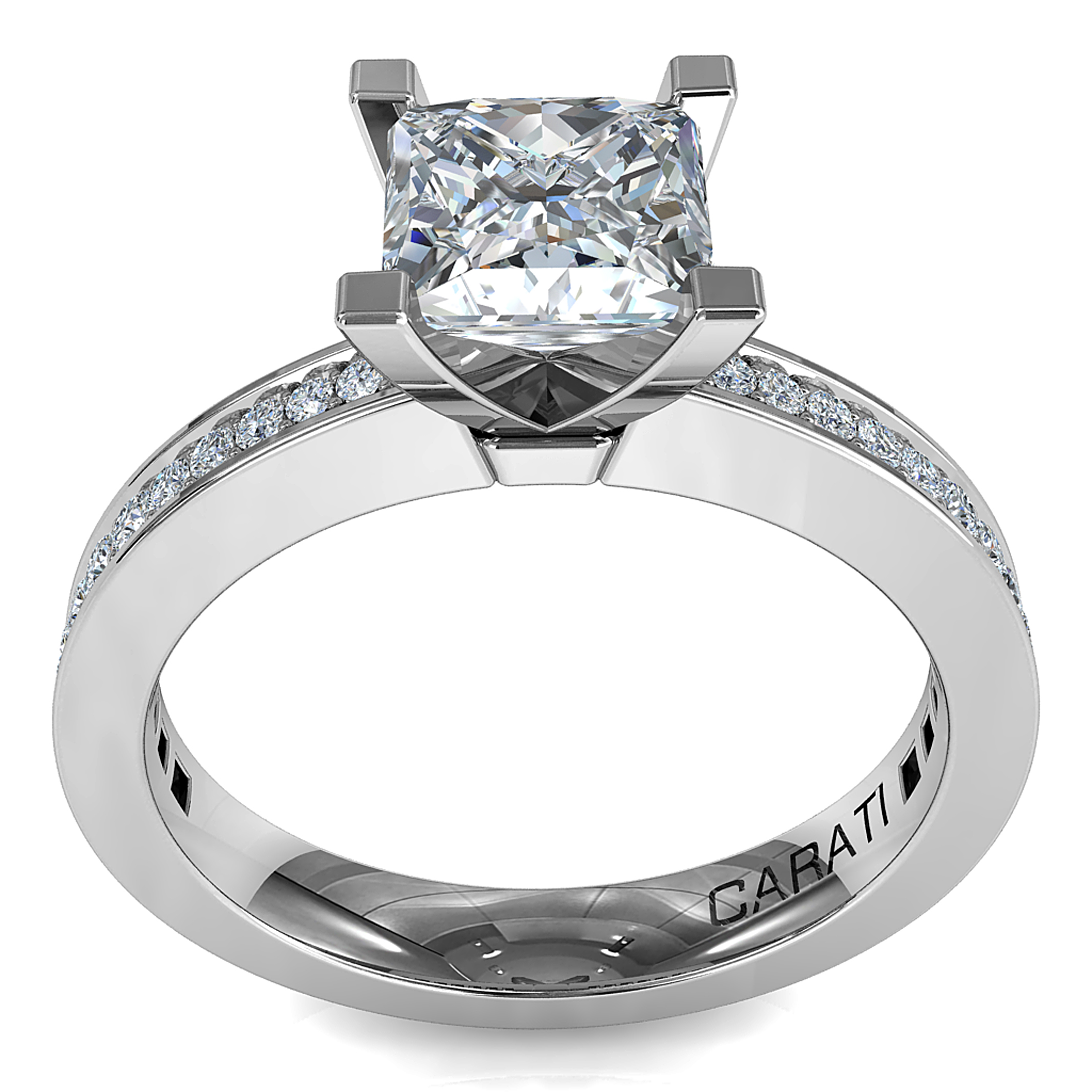 Princess Cut Solitaire Diamond Engagement Ring, 4 Square Claws on a Tapered Bead Set Band.