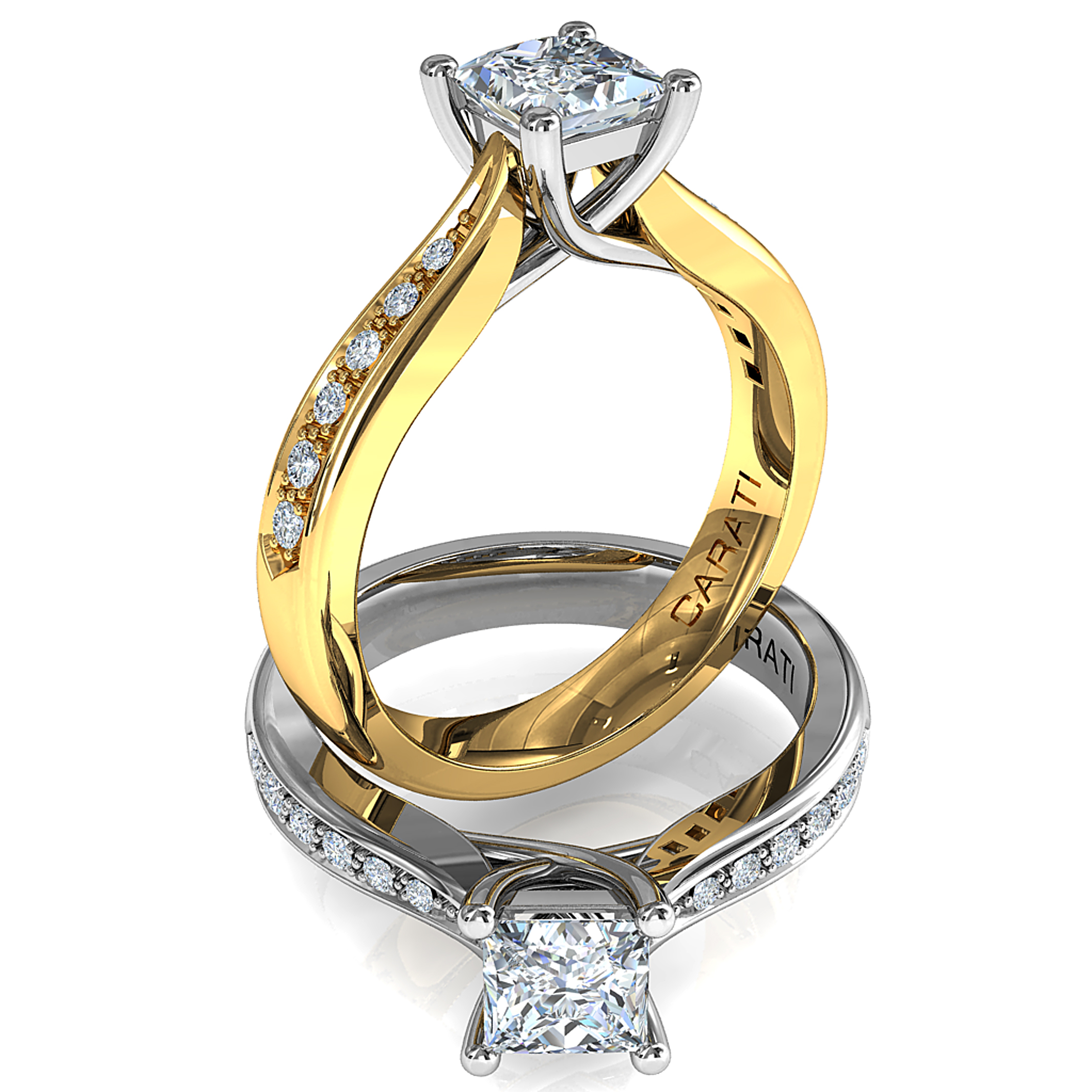 Princess Cut Solitaire Diamond Engagement Ring, 4 Claws on a Bead Set Band with an Undersweep Setting.
