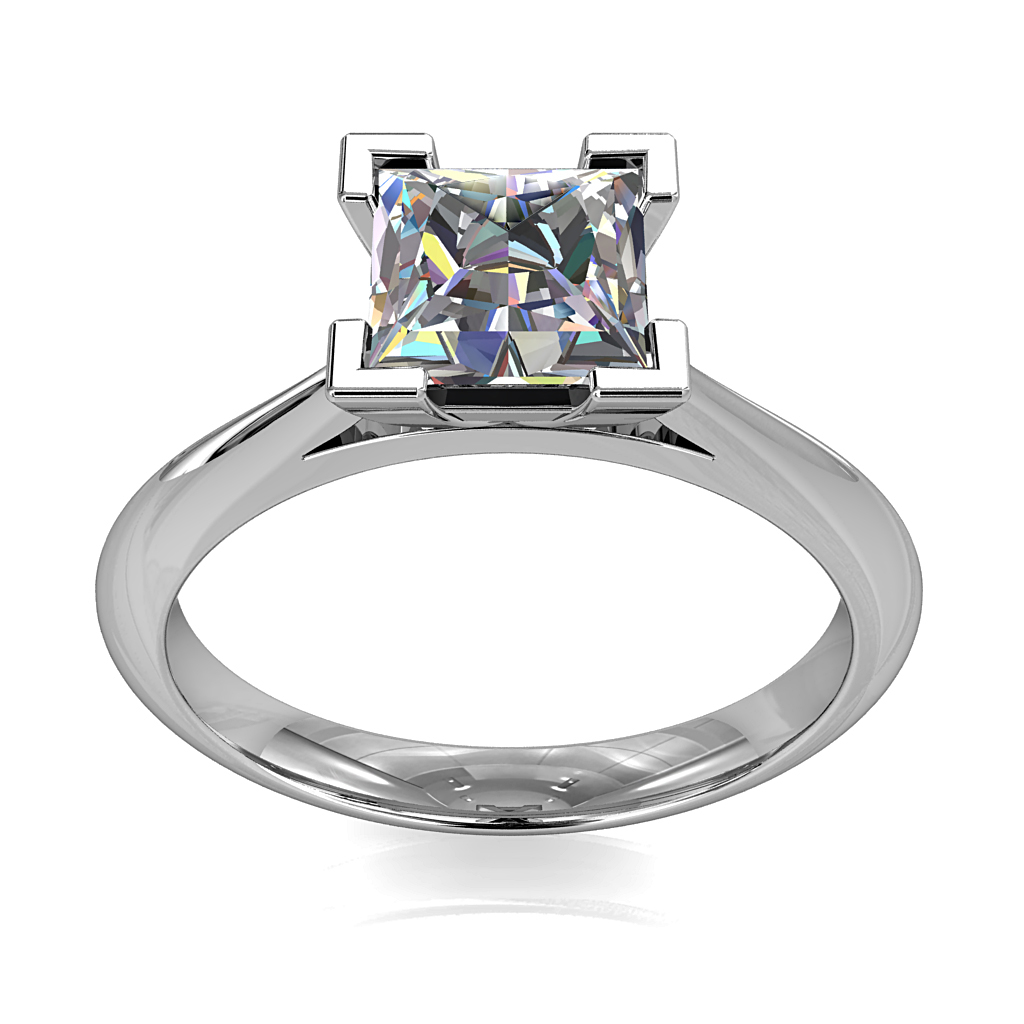 Princess Cut Solitaire Diamond Engagement Ring, 4 Corner Claws on a Tapered Band with a Classic Underrail Setting.