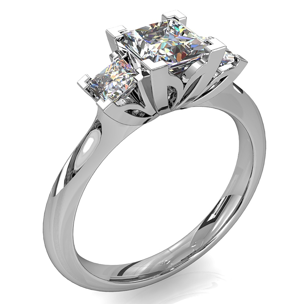 PrincessCut Trilogy Diamond Engagement Ring, on a Knife Edge Band with Lotus Side Details.