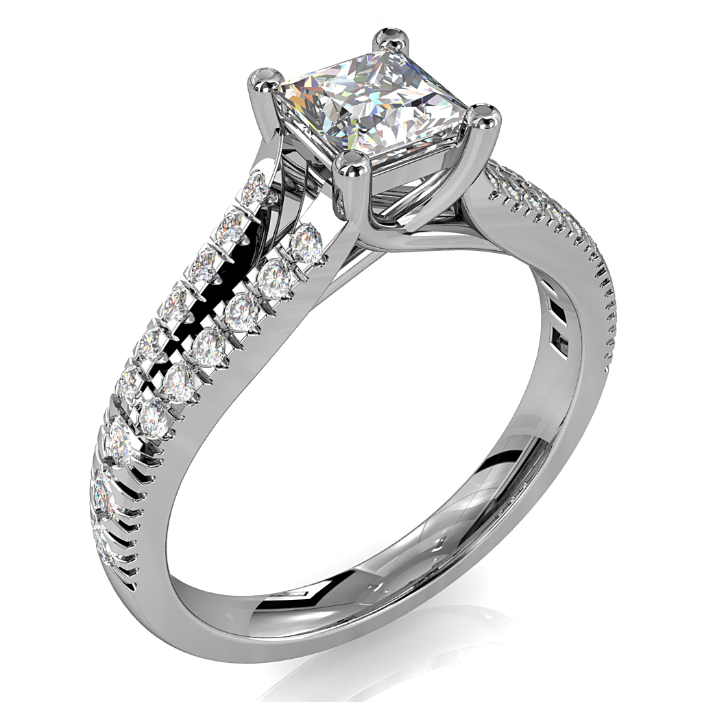 Princess Cut Solitaire Diamond Engagement Ring, 4 Claw Set on a Diamond Set Split Band with an Undersweep Setting.