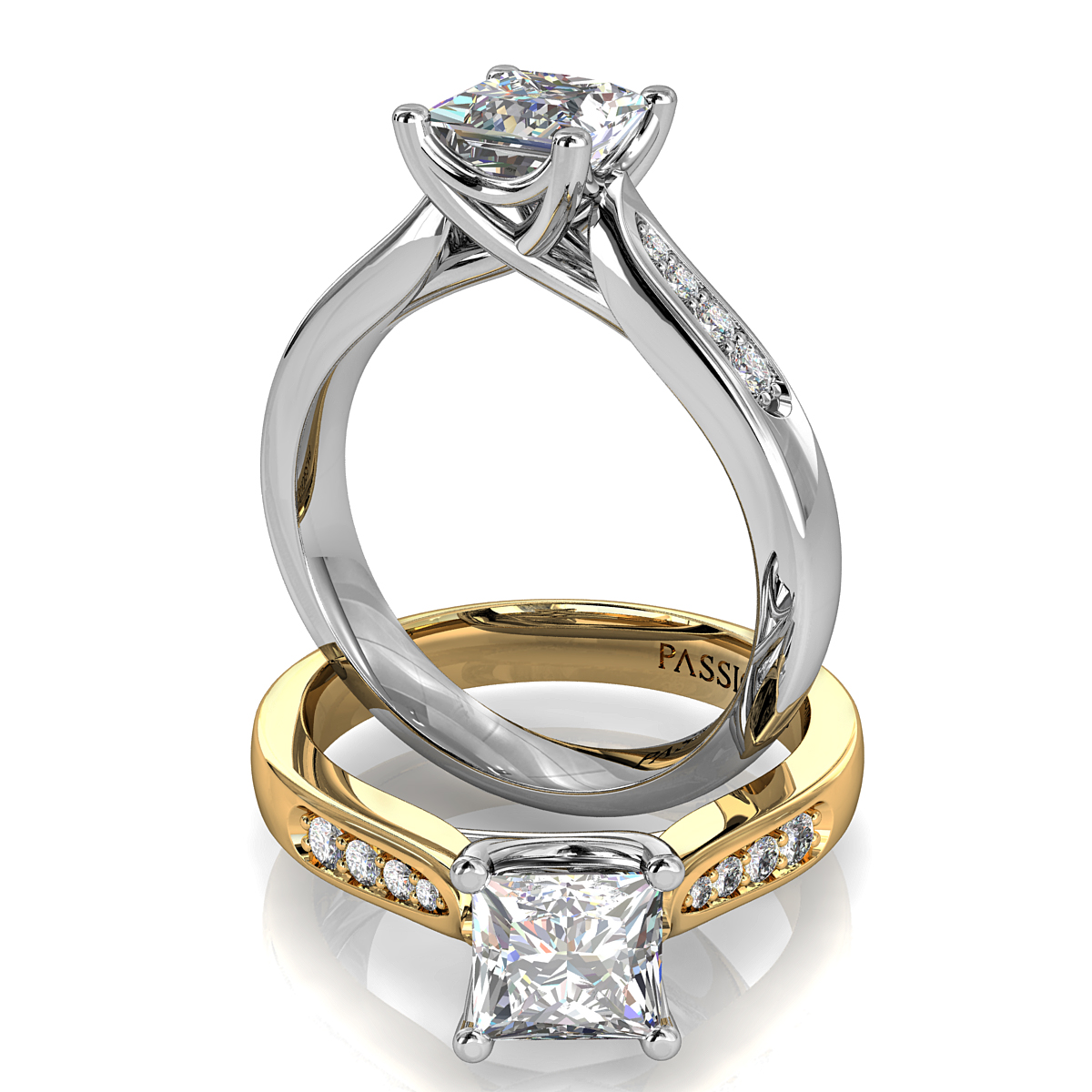 Princess Cut Solitaire Diamond Engagement Ring, 4 Claw Set on a Bead Set Band with an Undersweep Setting.