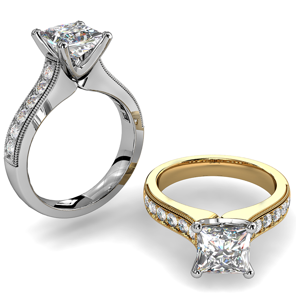 Princess Cut Solitaire Diamond Engagement Ring, 4 Claws on a Milgrain Bead Set Band.