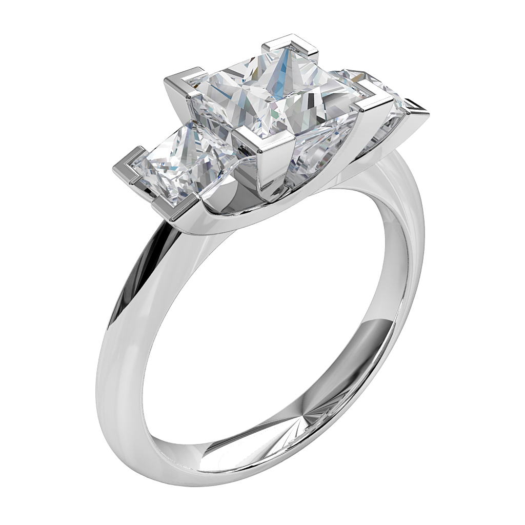Princess Cut Trilogy Diamond Engagement Ring, 4 Corner Claws on a Knife Edge Band with an Undersweep Setting.