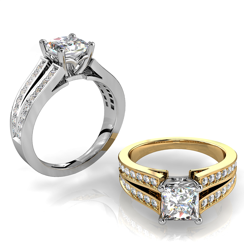 Princess Cut Solitaire Diamond Engagement Ring, 4 Claw Set on a Bead Set Split Band.