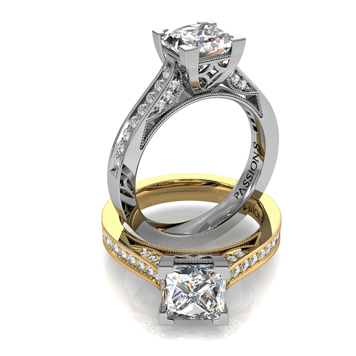 Princess Cut Solitaire Diamond Engagement Ring, 4 Corner Claws on a Bead Set Band with Milgrain Outer Edge Details.