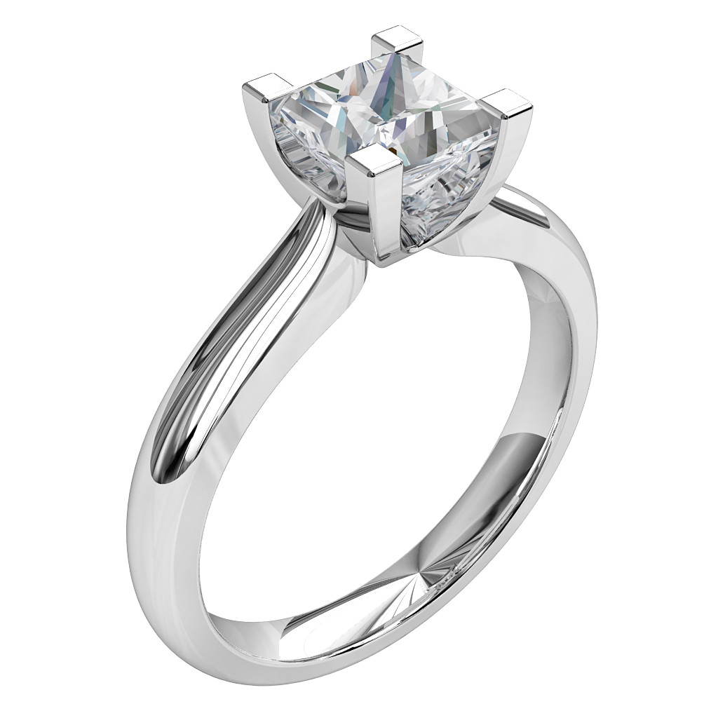 Princess Cut Solitaire Diamond Engagement Ring, 4 Square Claws on a Rounded Band.
