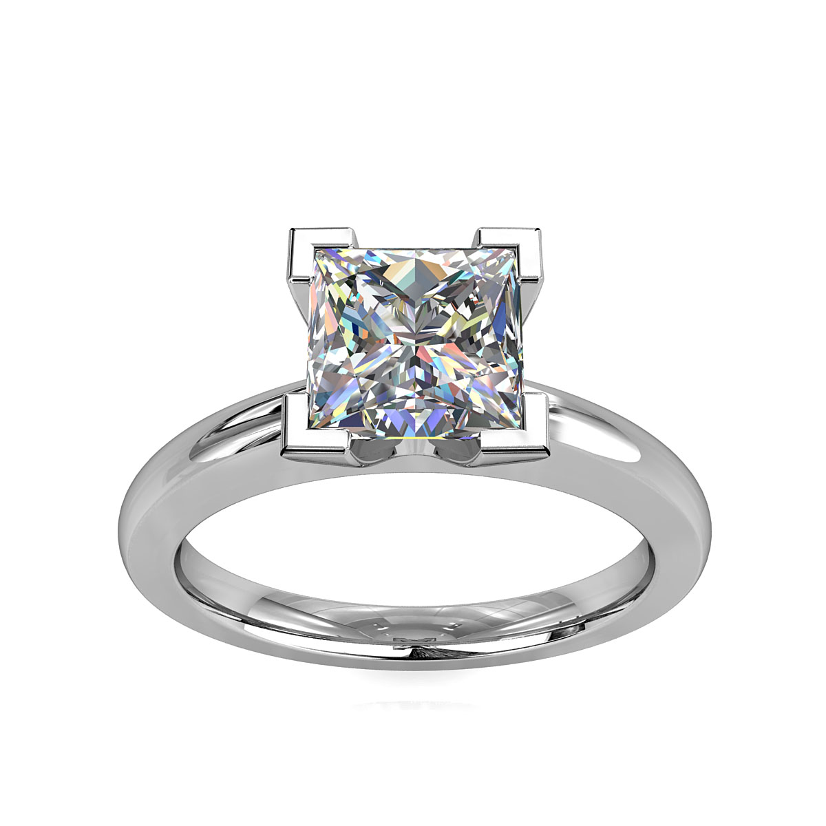 Princess Cut Solitaire Diamond Engagement Ring, 4 Corner Claws on a Flat Band.