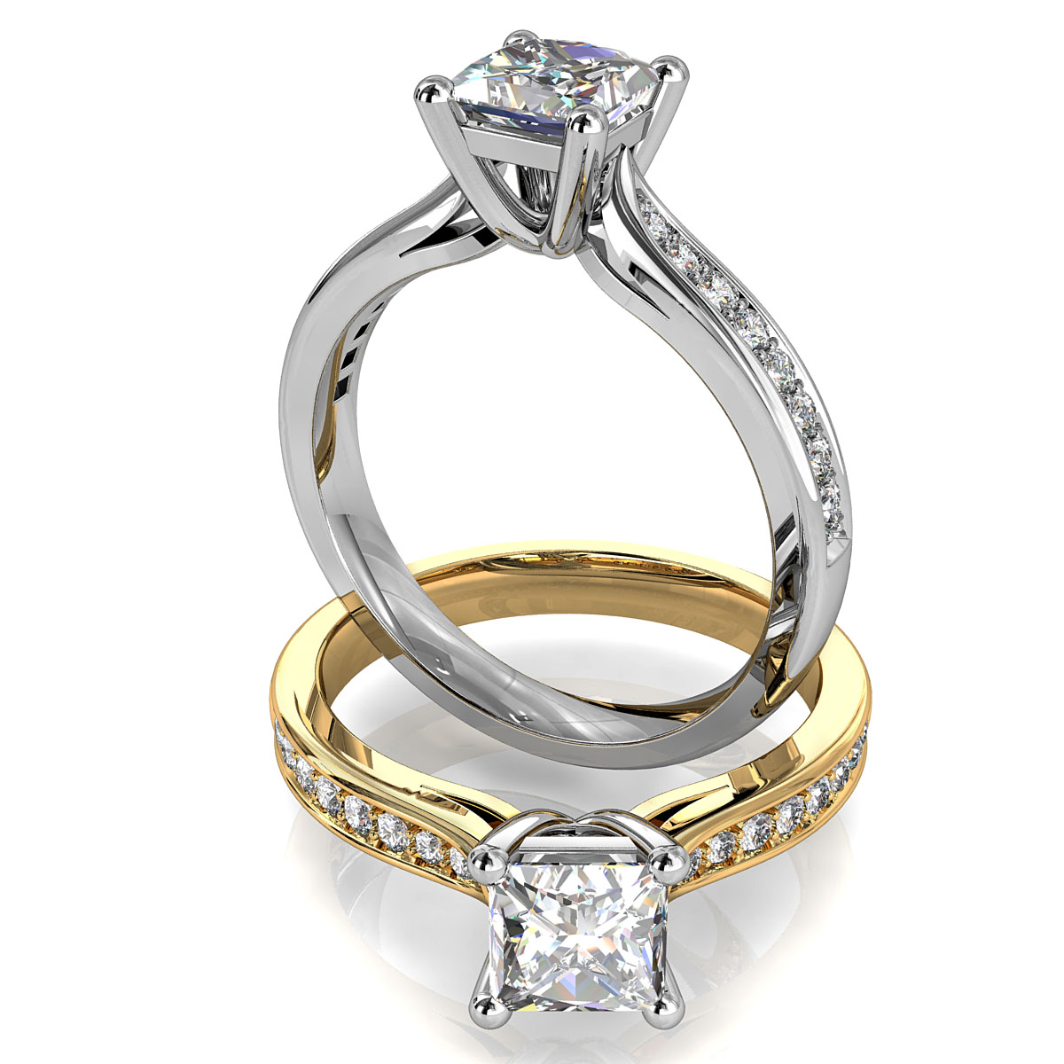 Princess Cut Solitaire Diamond Engagement Ring, 4 Claw Set on a Tapered Bead Set Band with Side Support Bar.