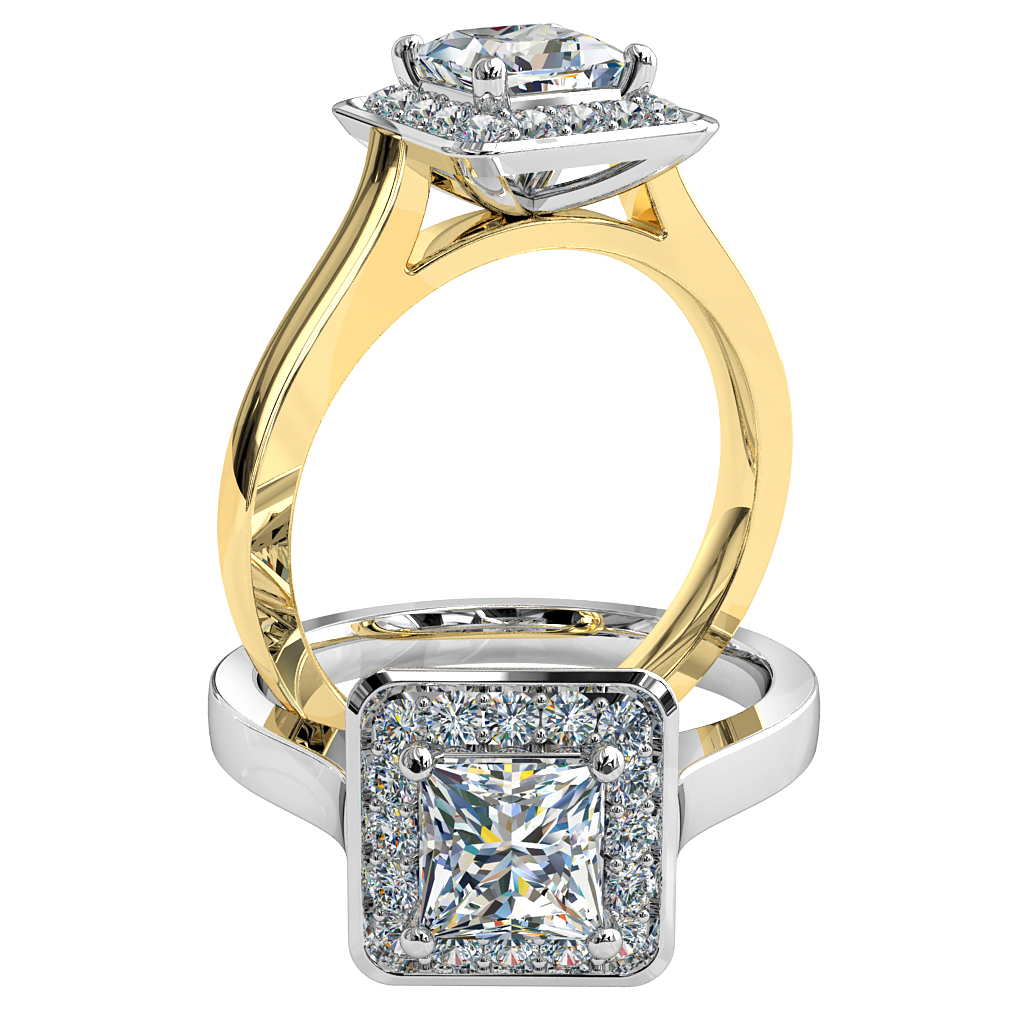 Princess Cut Halo Diamond Engagement Ring, 4 Claws Set in a Bead Set Halo on a Plain Polished Band.