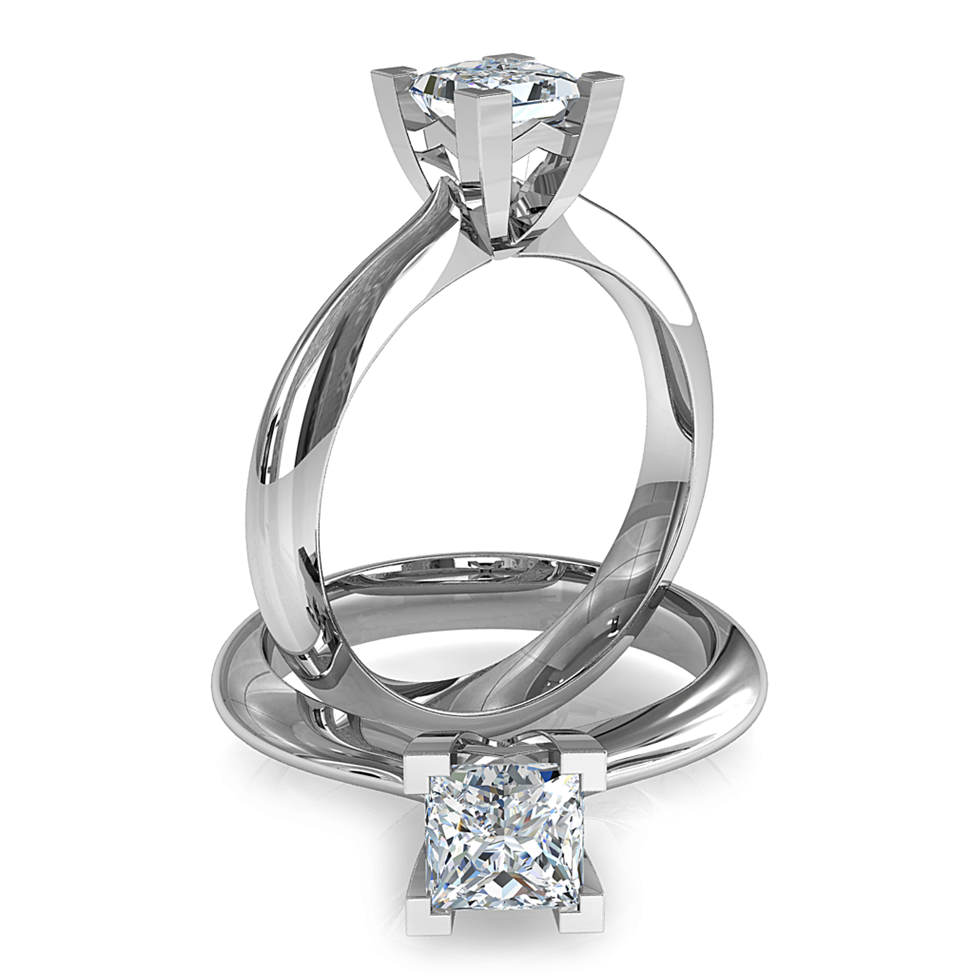 Princess Cut Solitaire Diamond Engagement Ring, 4 Corner Claws on a Tapered Round Band.