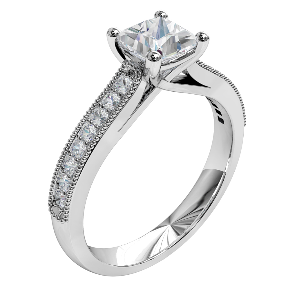 Princess Cut Solitaire Diamond Engagement Ring, 4 Claws on a Milgrain Bead Set Band with an Undersweep Setting.