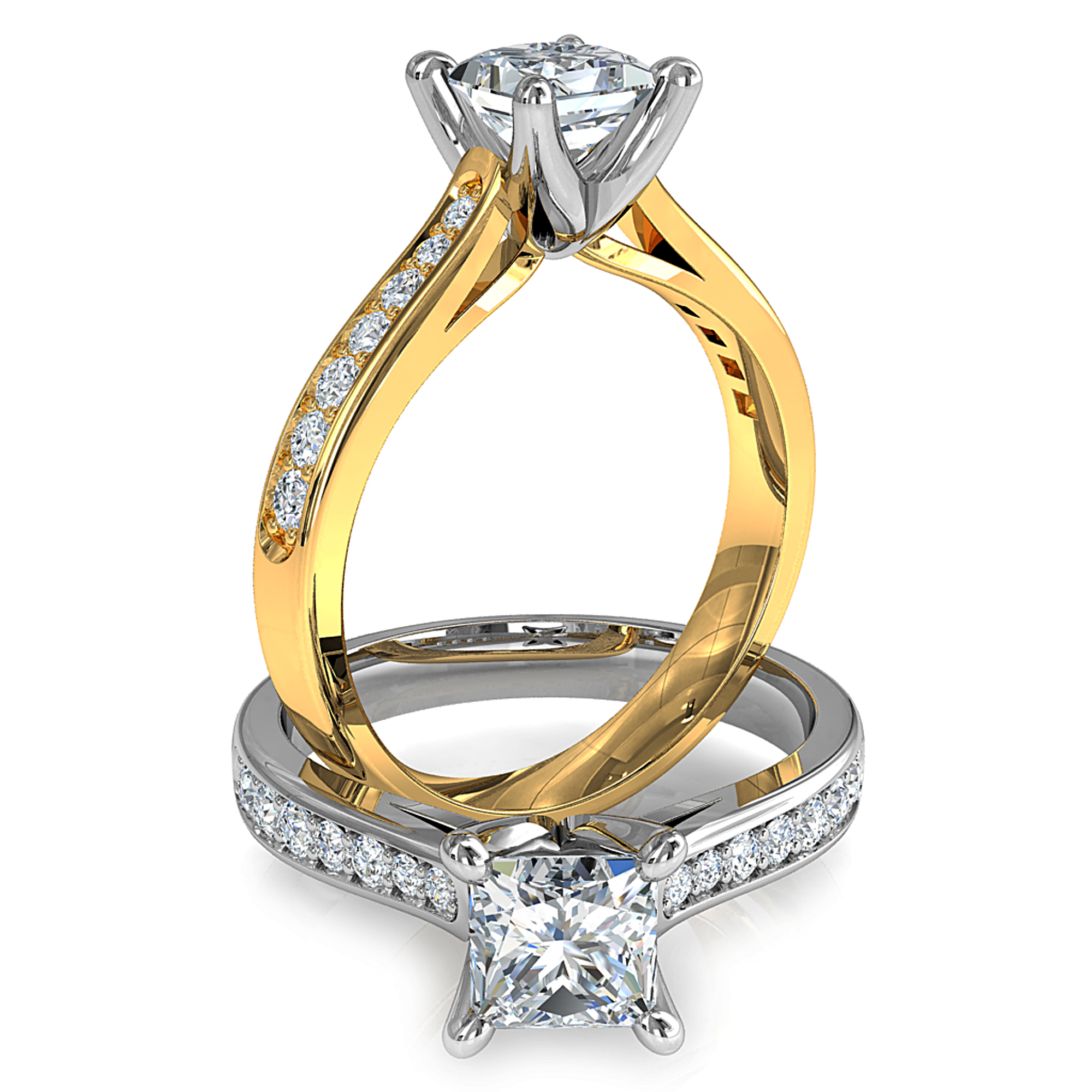 Princess Cut Solitaire Diamond Engagement Ring, 4 Pear Claws on a Tapered Bead Set Band.