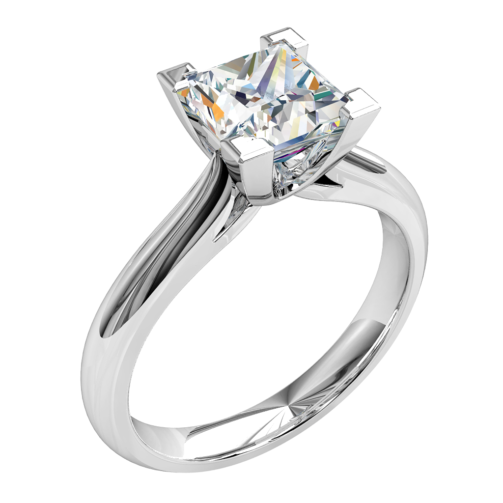 Princess Cut Solitaire Diamond Engagement Ring, 4 Corner Claws on a Rounded Band.