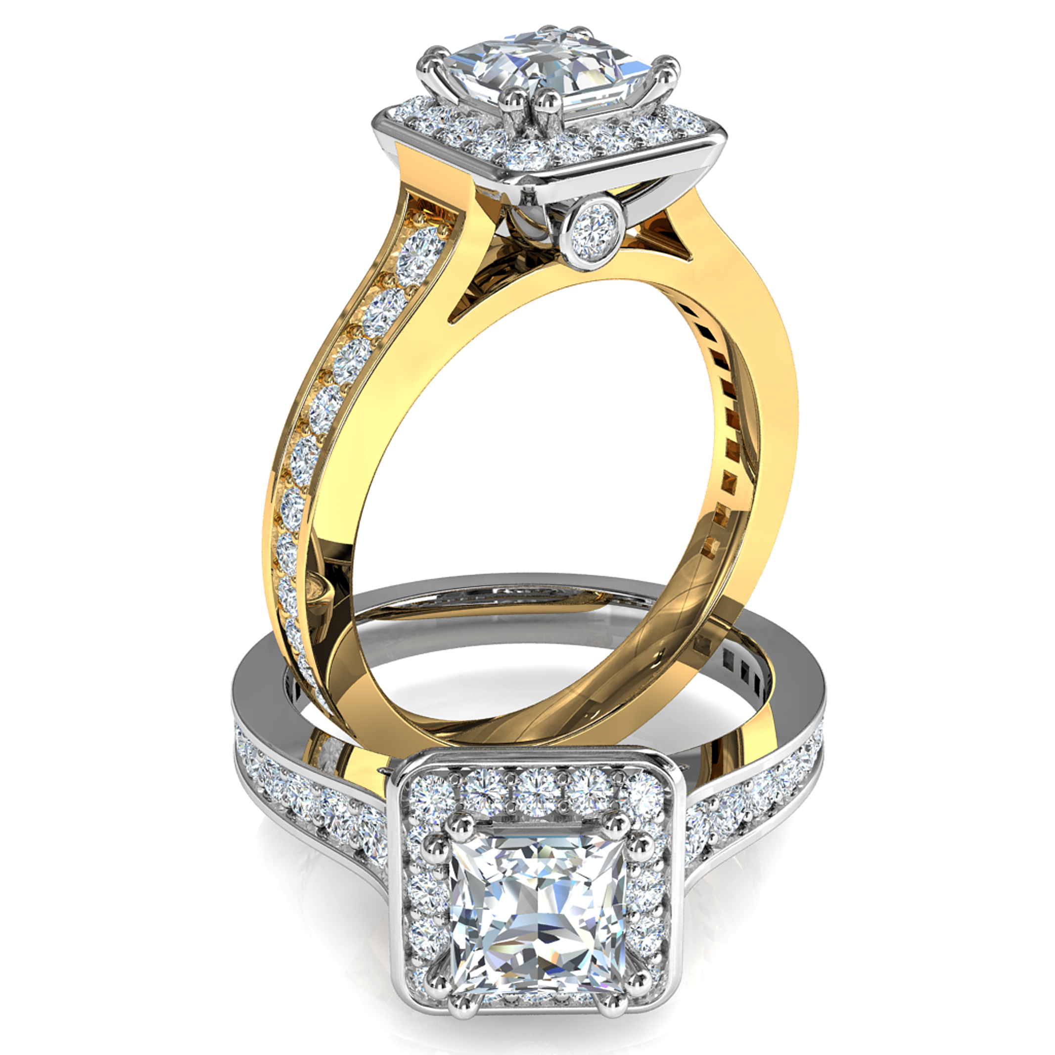 Princess Cut Halo Diamond Engagement Ring, 4 Double Claws Set in a Bead Set Halo on a Tapering Bead Set Band with Hidden Diamond Undersetting.
