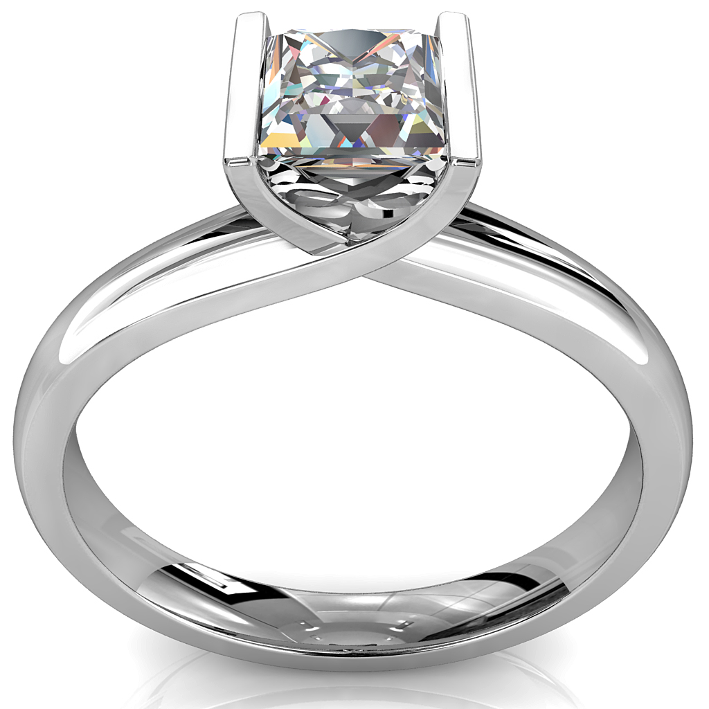 Princess Cut Solitaire Diamond Engagement Ring, Tension Set on a Sweeping Band.