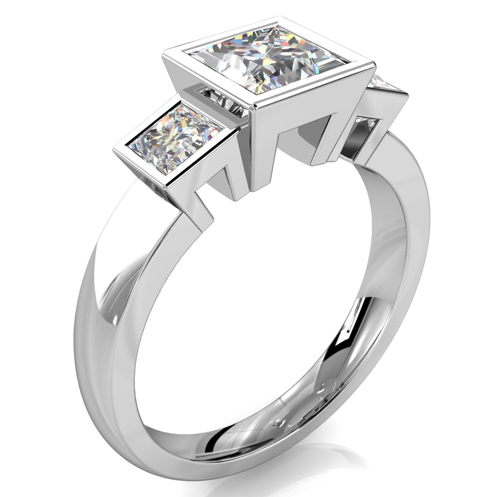 Princess Cut Trilogy Diamond Engagement Ring, Bezel Set on a Plain Band.
