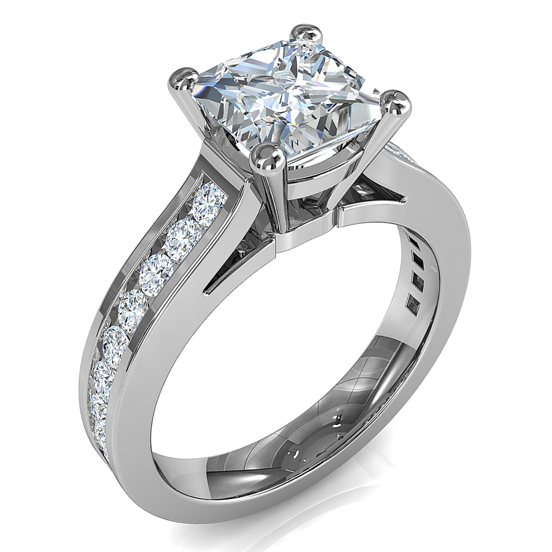 Princess Cut Solitaire Diamond Engagement Ring, 4 Claw Set on a Round Channel Set Band with Classic Underrail Setting.