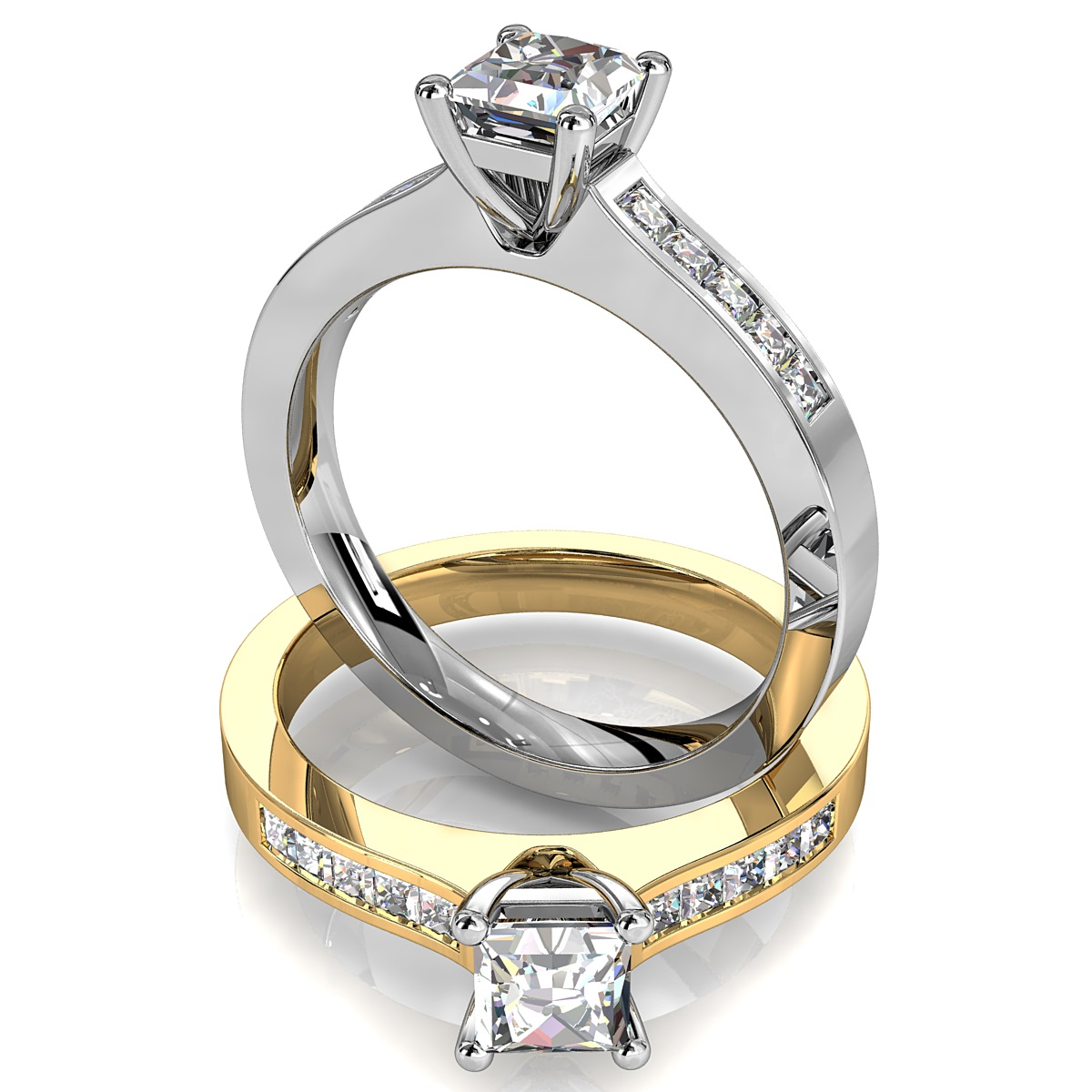 Princess Cut Solitaire Diamond Engagement Ring, 4 Claw Set on a Princess Channel Set Band.