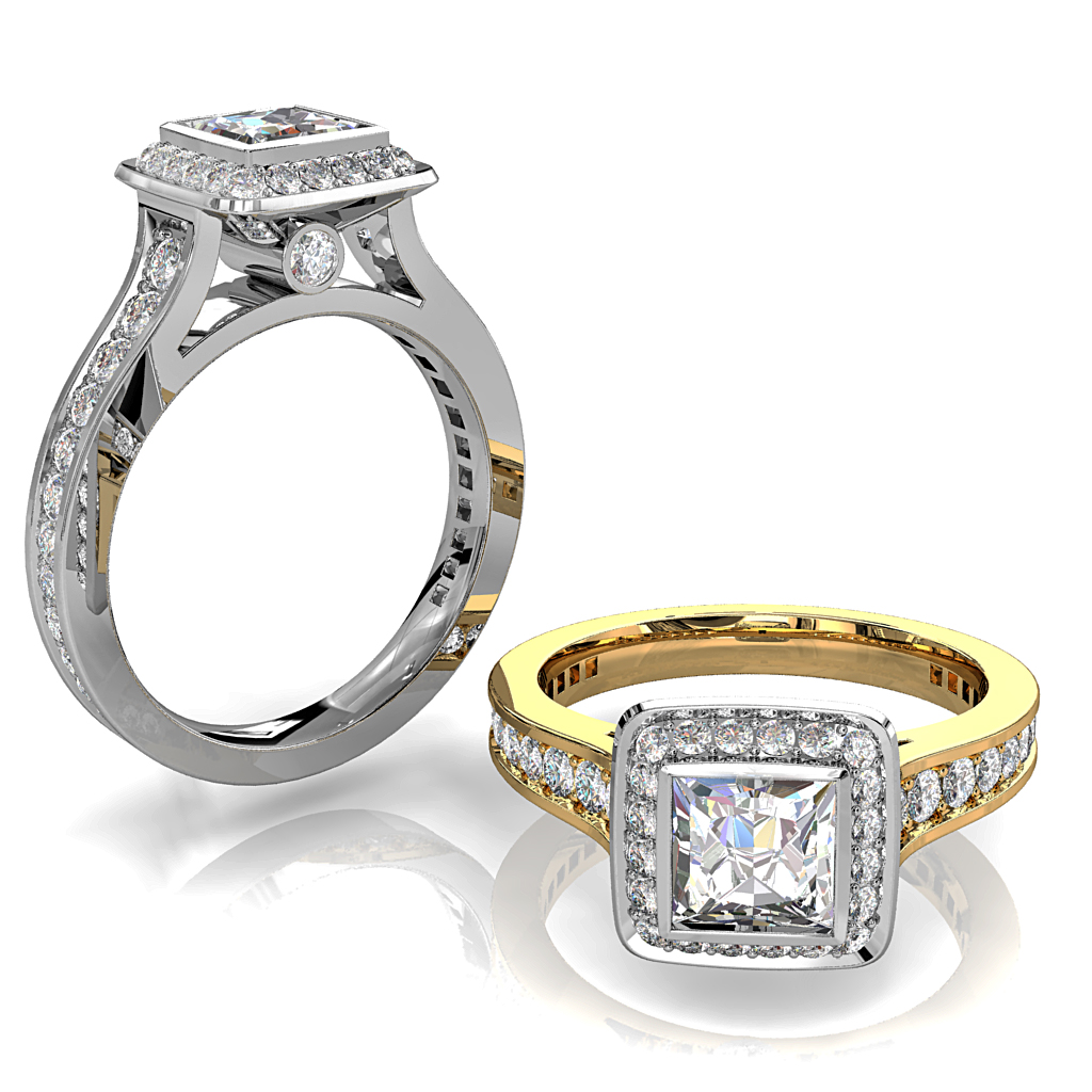 Princess Cut Halo Diamond Engagement Ring, Bezel Set in a Bead Set Halo with Tapering Bead Set Band with Diamond Set Support Bars and Hidden Diamond Undersetting.