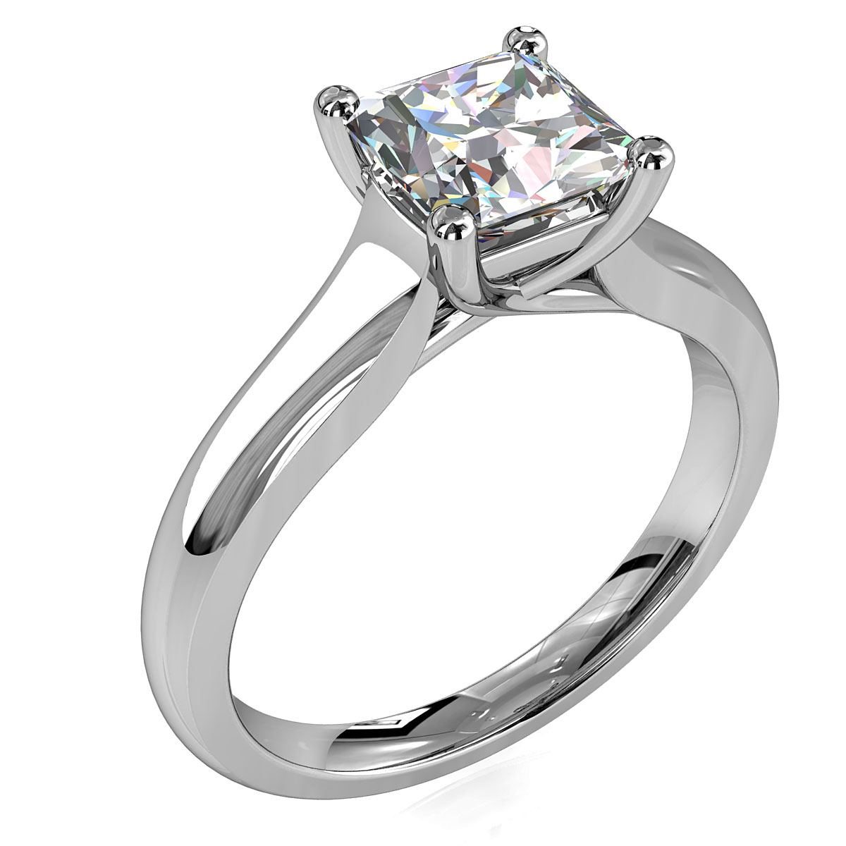 Princess Cut Solitaire Diamond Engagement Ring, 4 Claws on a Wide Band with an Undersweep Setting.
