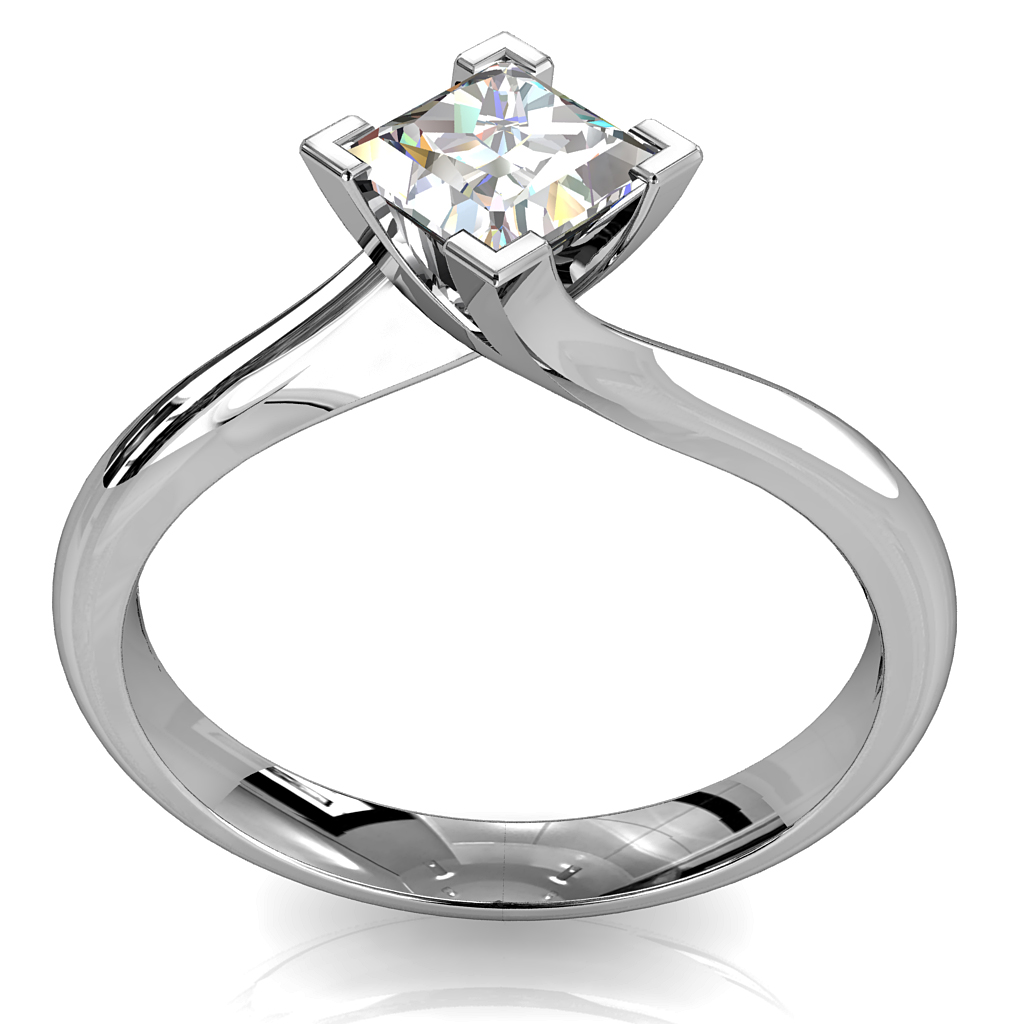 Princess Cut Solitaire Diamond Engagement Ring, 4 Corner Claws on Sweeping Band.