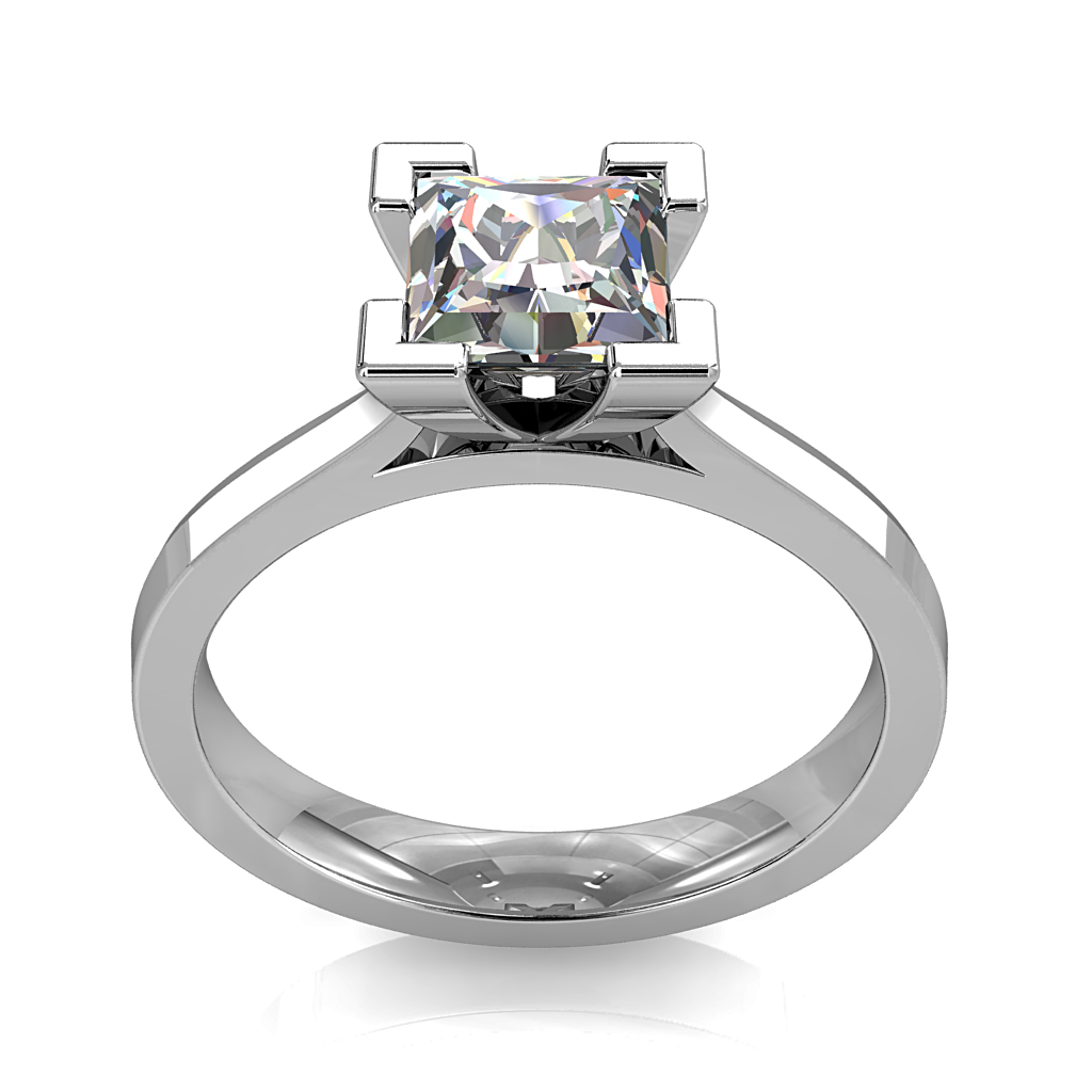 Princess Cut Solitaire Diamond Engagement Ring, 4 Corner Claws on Fine Band and a Classic Underrail Setting.