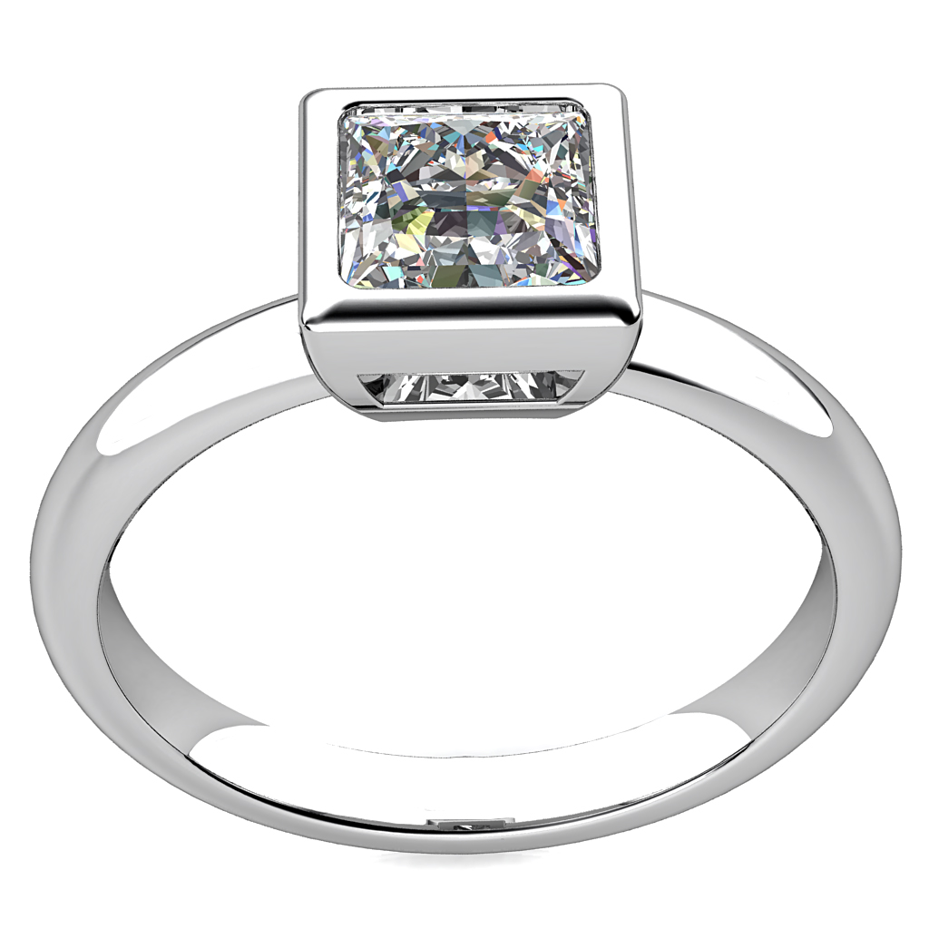 Princess Cut Solitaire Diamond Engagement Ring, Bezel Set on a Rounded Band.