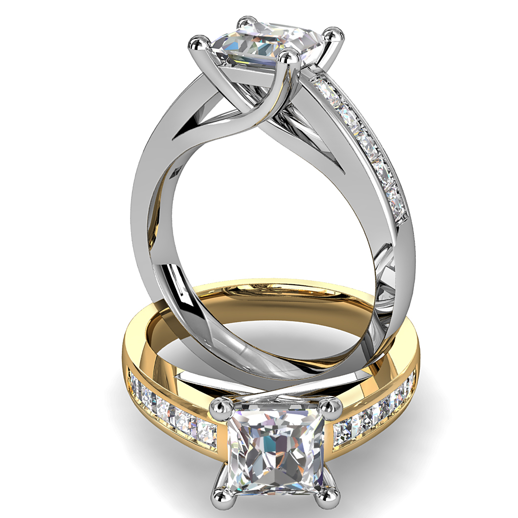 Princess Cut Solitaire Diamond Engagement Ring, 4 Claw Set on a Channel Set Band and an Undersweep Setting.