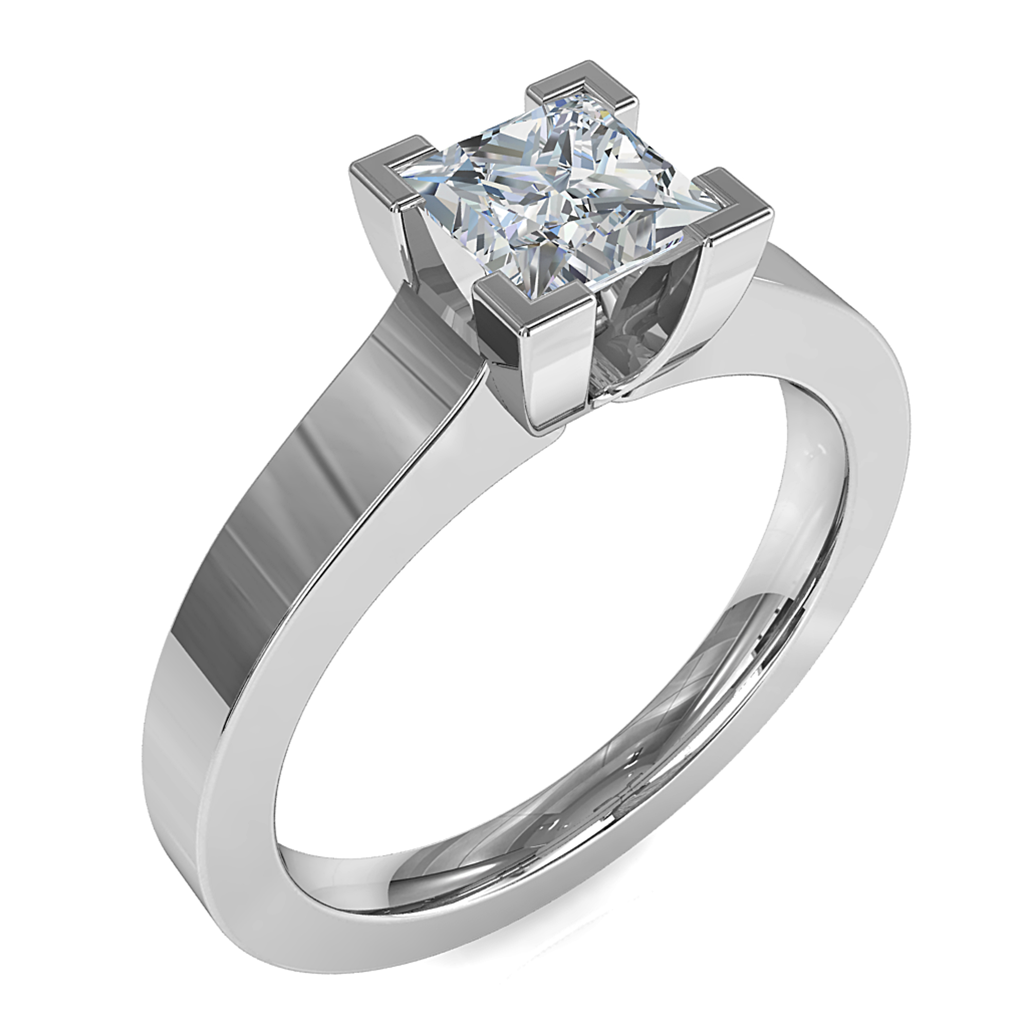 Princess Cut Solitaire Diamond Engagement Ring, 4 Corner Claws on a Thick Flat Band.