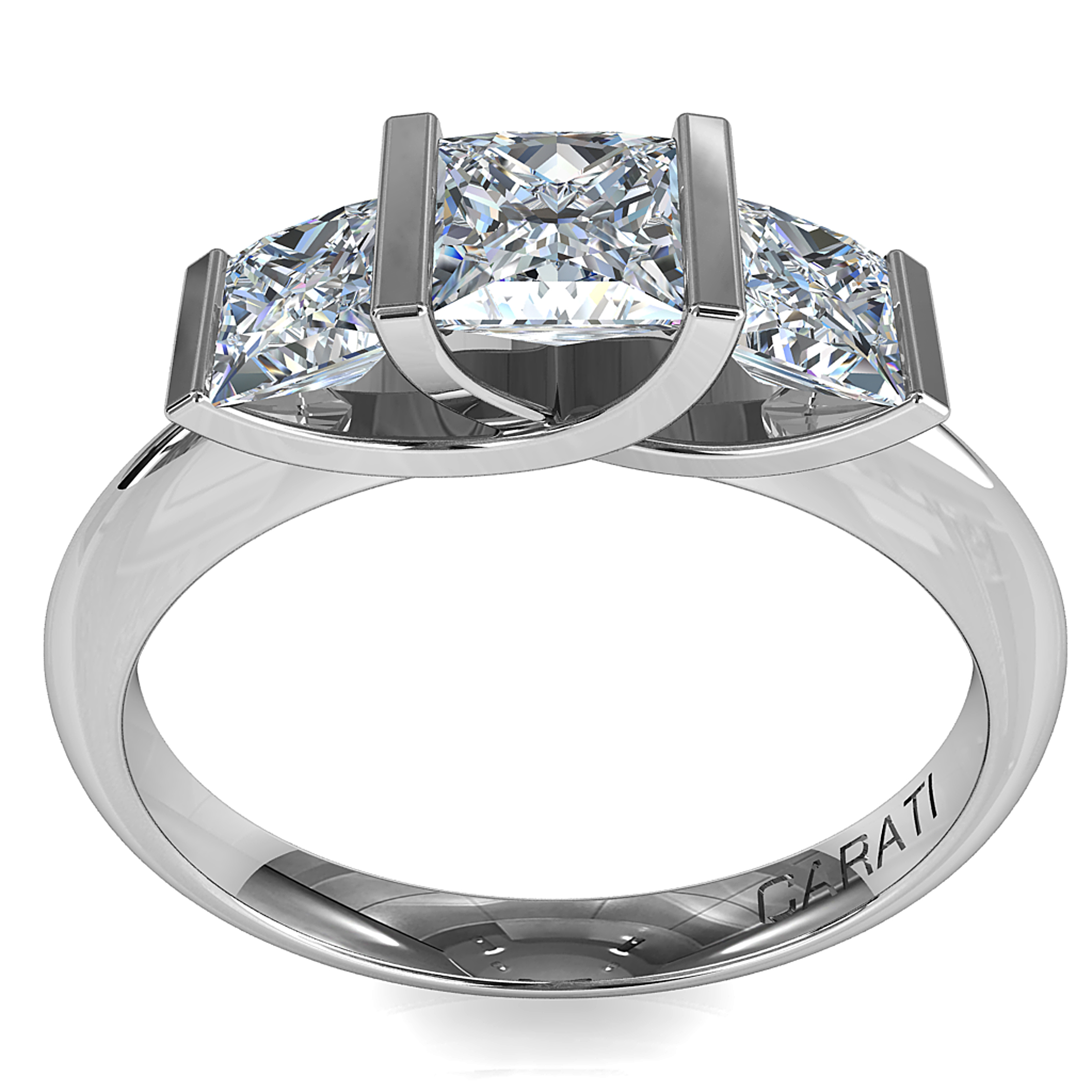 Princess Cut Trilogy Diamond Engagement Ring, Claw Set Stones and a Twist Undersetting.