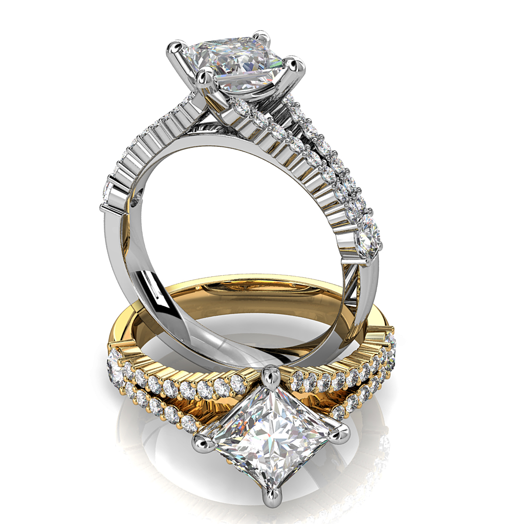Princess Cut Solitaire Diamond Engagement Ring, 4 Pear Offset Claws on a Cut Claw Fitted Split Band.