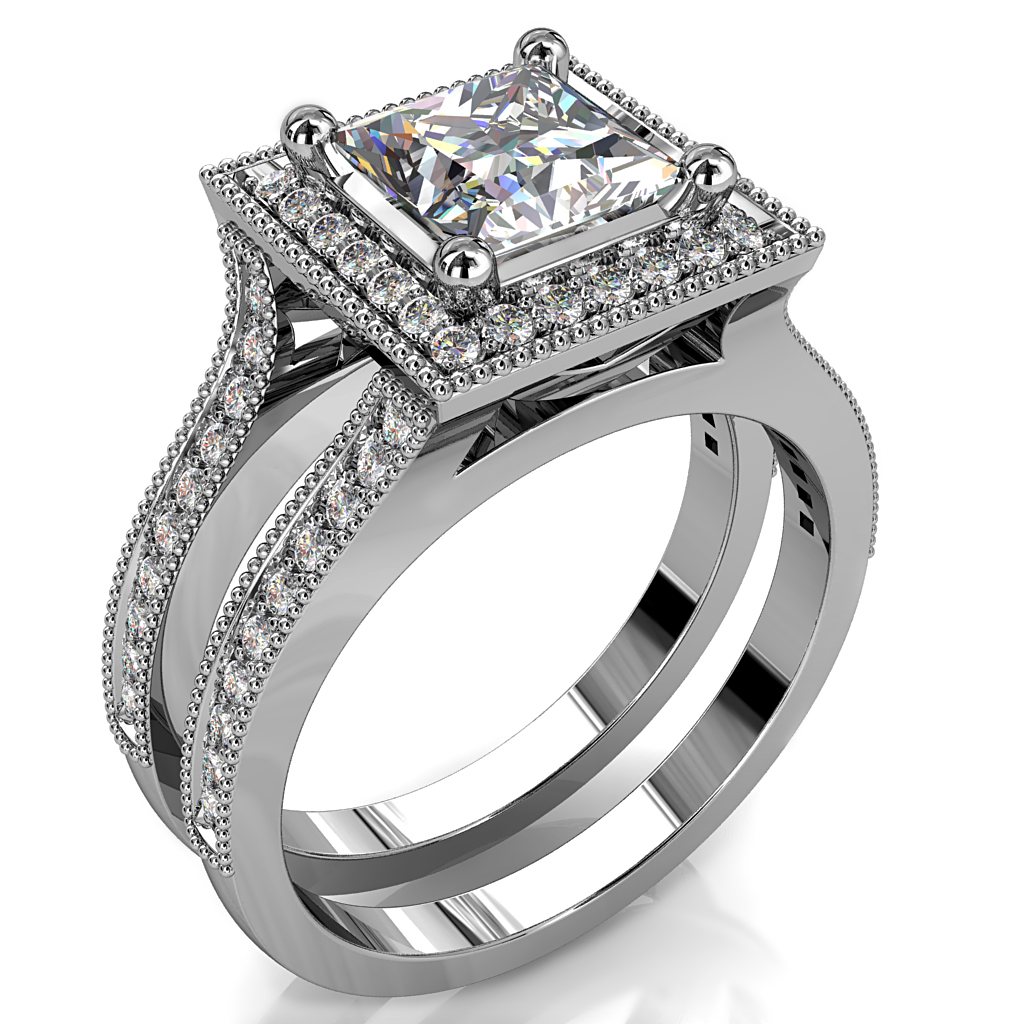 Princess Cut Halo Diamond Engagement Ring, 4 Claw Set in a Bead Set Halo and a Bead Set Full Split Band.