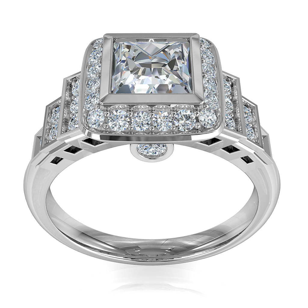 Princess Cut Halo Diamond Engagement Ring, Bezel Set in a Bead Set Halo on an Art Deco Style Stepped Diamond Set Band.