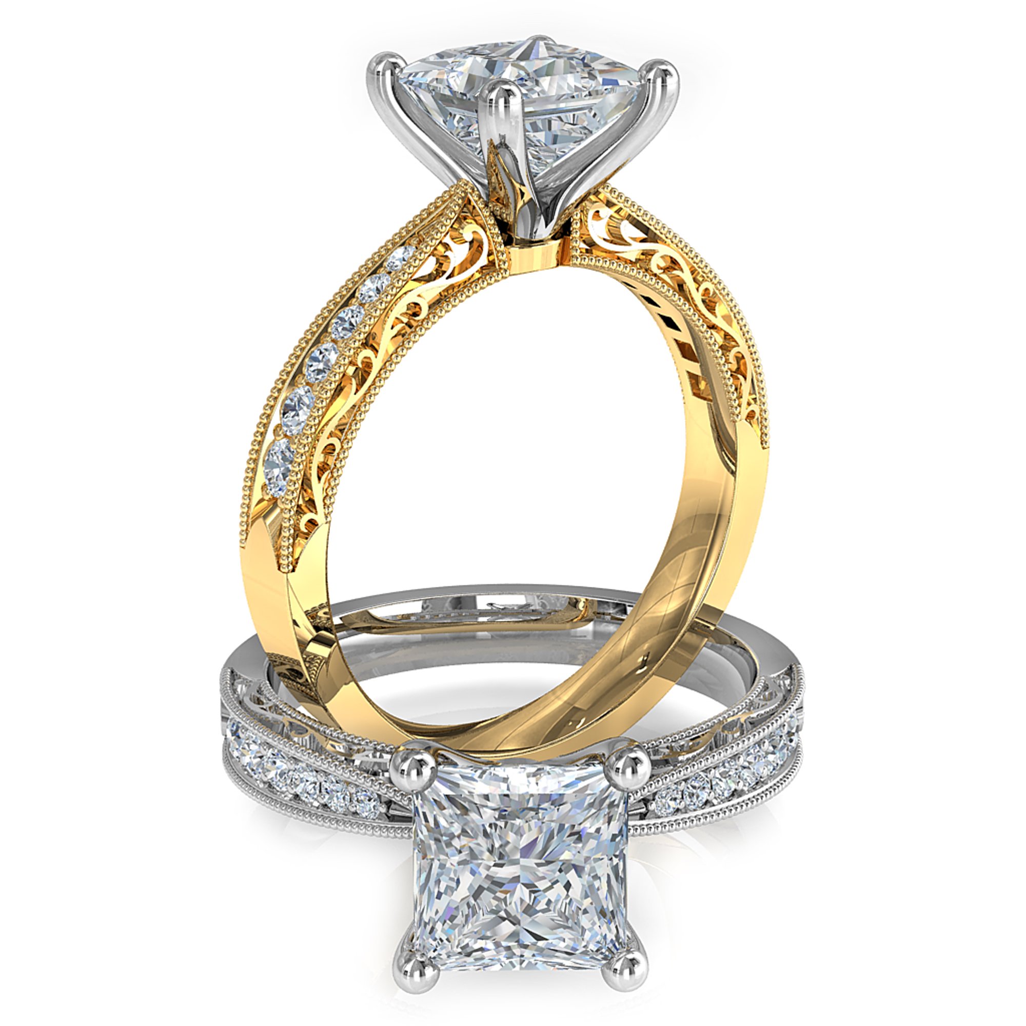 Princess Cut Solitaire Diamond Engagement Ring, 4 Claws on a Bead Set Band with Vintage Scroll Detail on Outer Edge of Band.