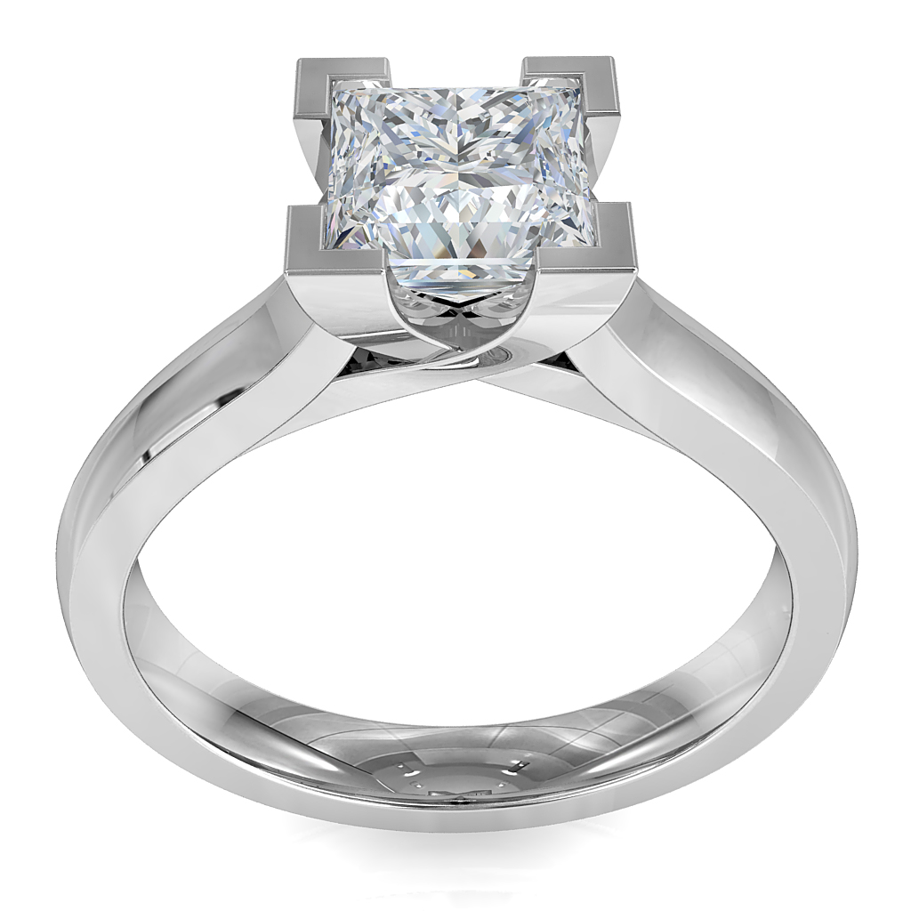Princess Cut Solitaire Diamond Engagement Ring, 4 Corner Claws and an Undersweep Setting.