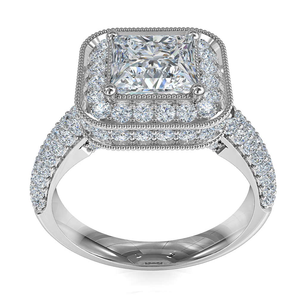 Princess Cut Halo Diamond Engagement Ring, 4 Claw Set in a Rolled Milgrain Bead Set Halo with Rolled Pave Set Band.