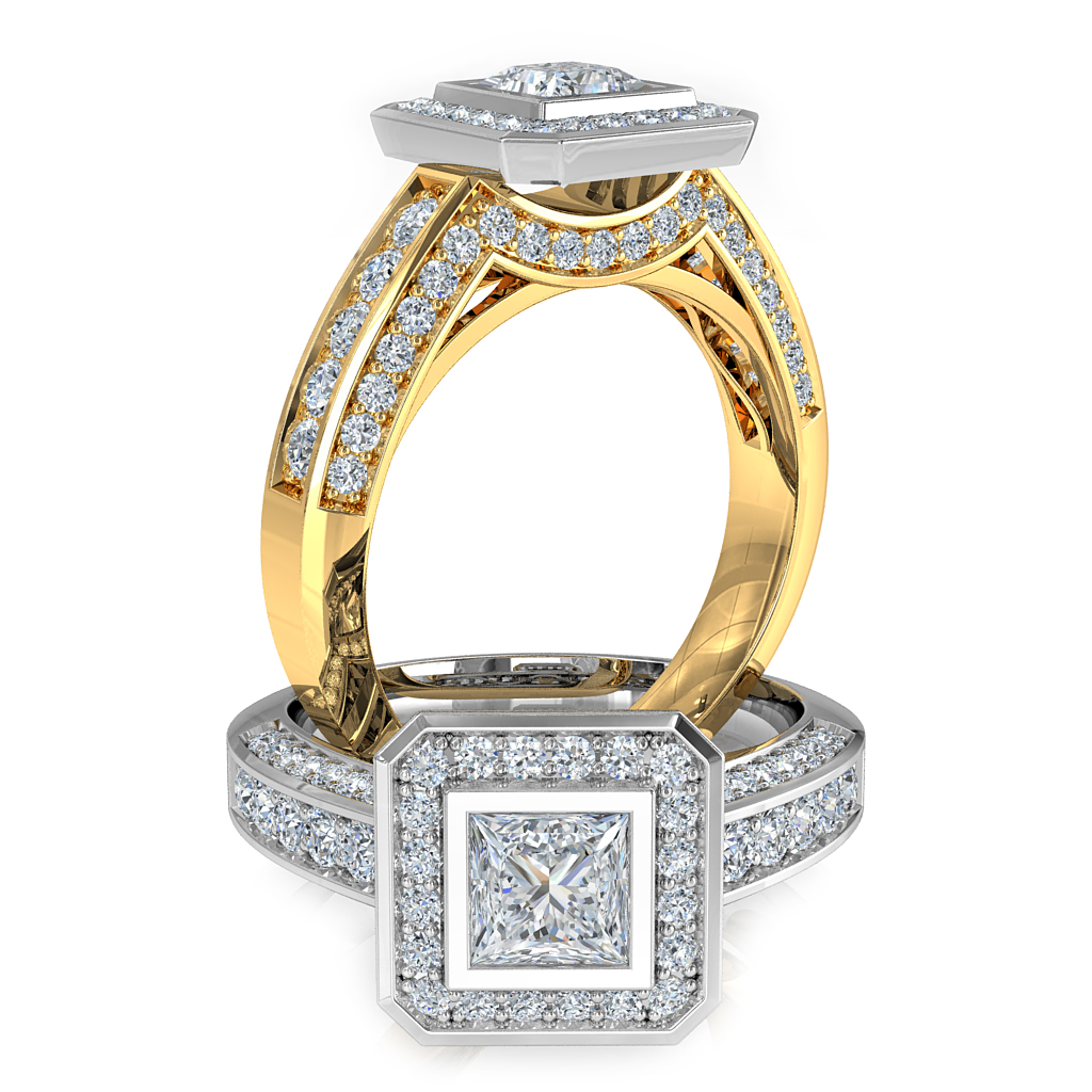 Princess Cut Halo Diamond Engagement Ring, Bezel Set with a Bead Set Halo and Band on a Bead Set Curved Undersetting and Outer Band.