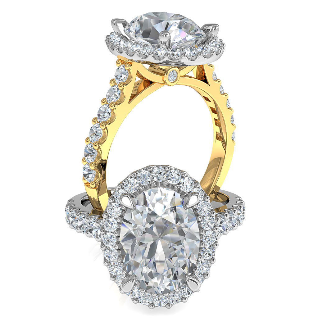 Oval Cut Diamond Engagement Ring, 4 Pear Shaped Claws set in a Cut Claw Halo and Band, with Hidden Diamond Undersetting.