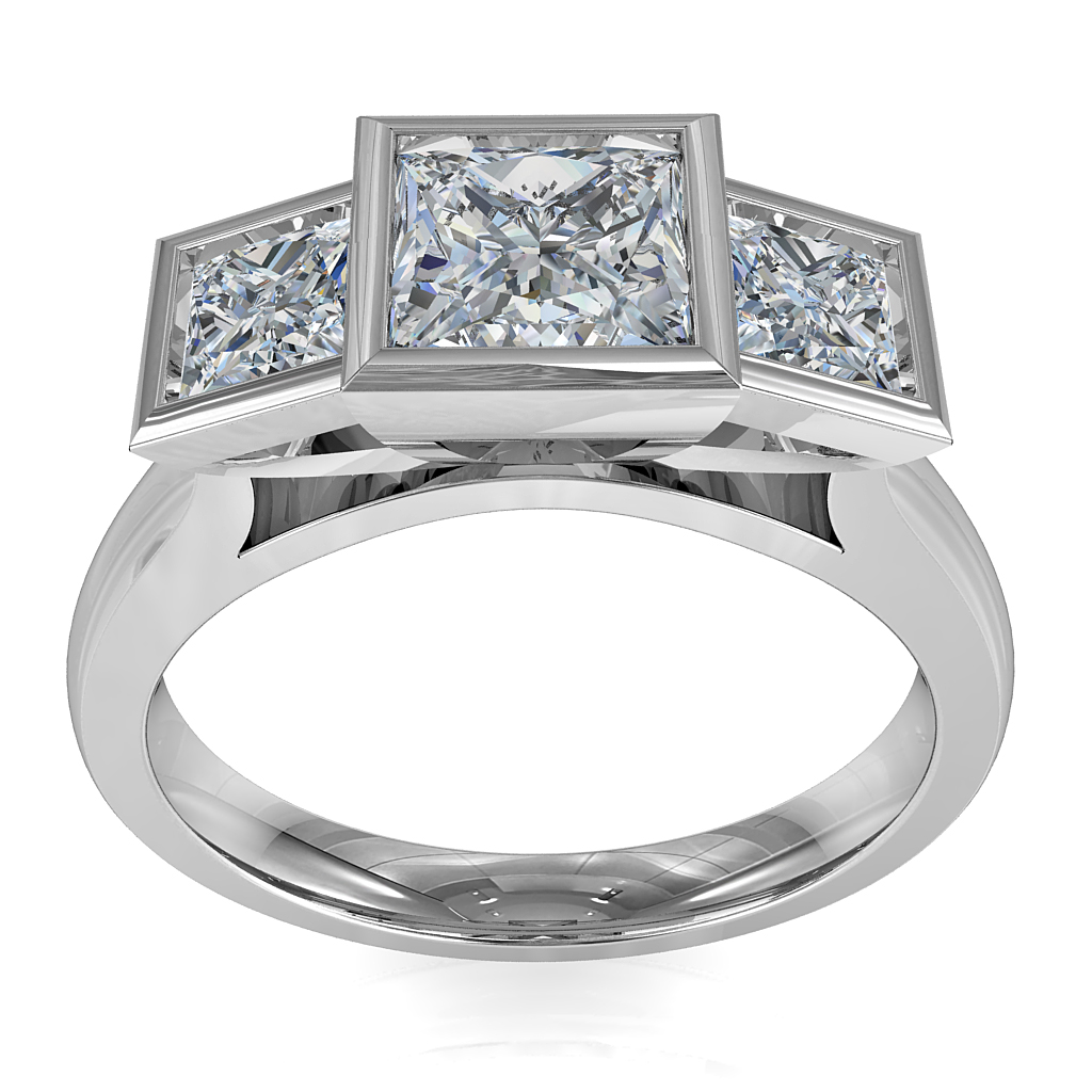 Princess Cut Trilogy Diamond Engagement Ring, Bezel Set Stones with a Classic Under Setting.