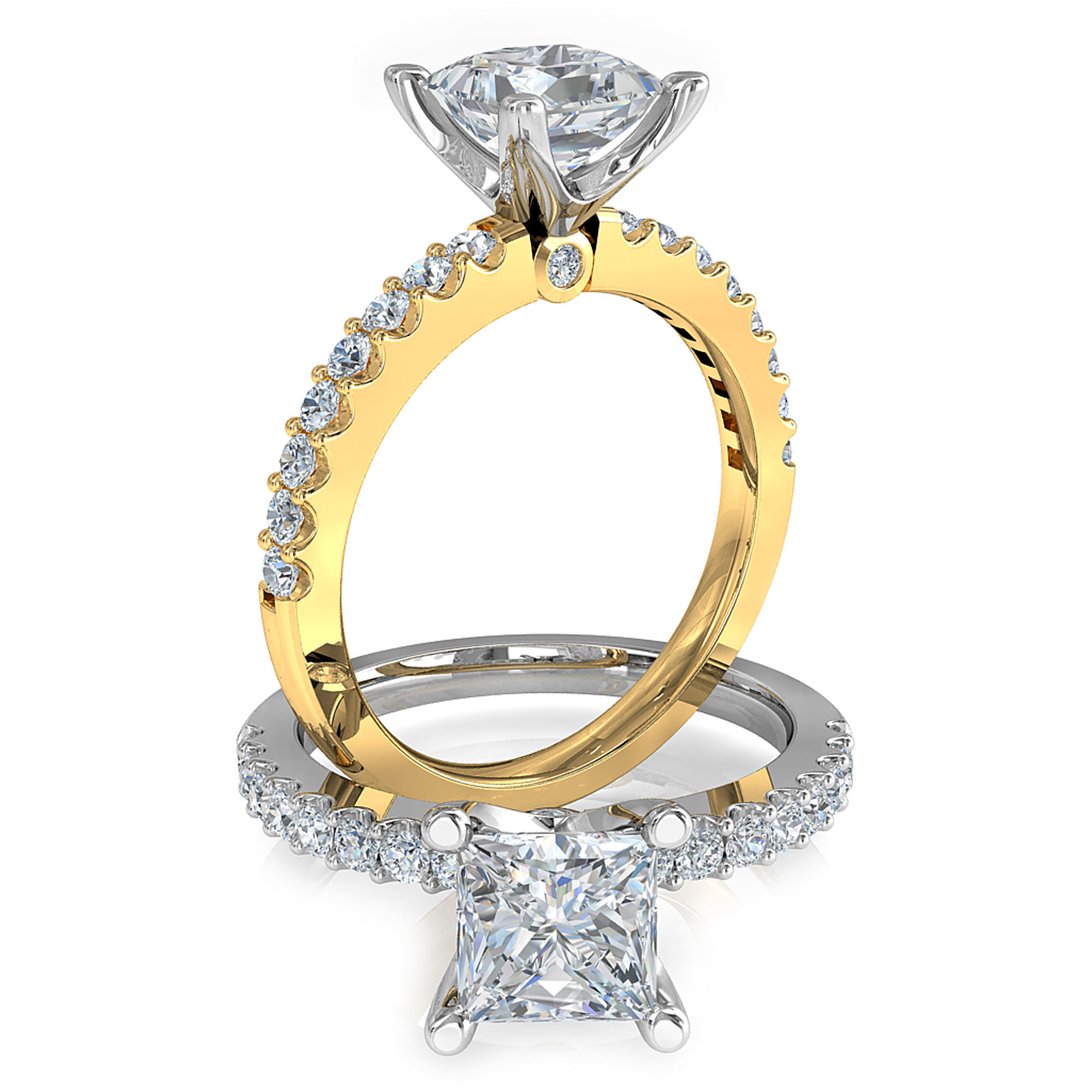 Princess Cut Solitaire Diamond Engagement Ring, 4 Claws Set on a Thin Cut Claw Band with a Hidden Diamond Undersetting.