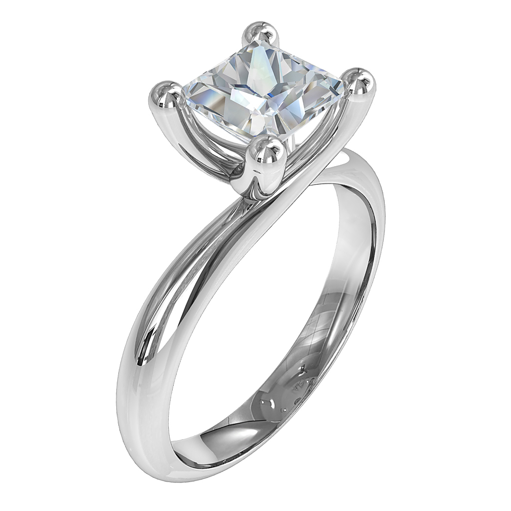 Princess Cut Solitaire Diamond Engagement Ring, 4 Button Claws on a Rounded Band with a Twisted Undersetting.